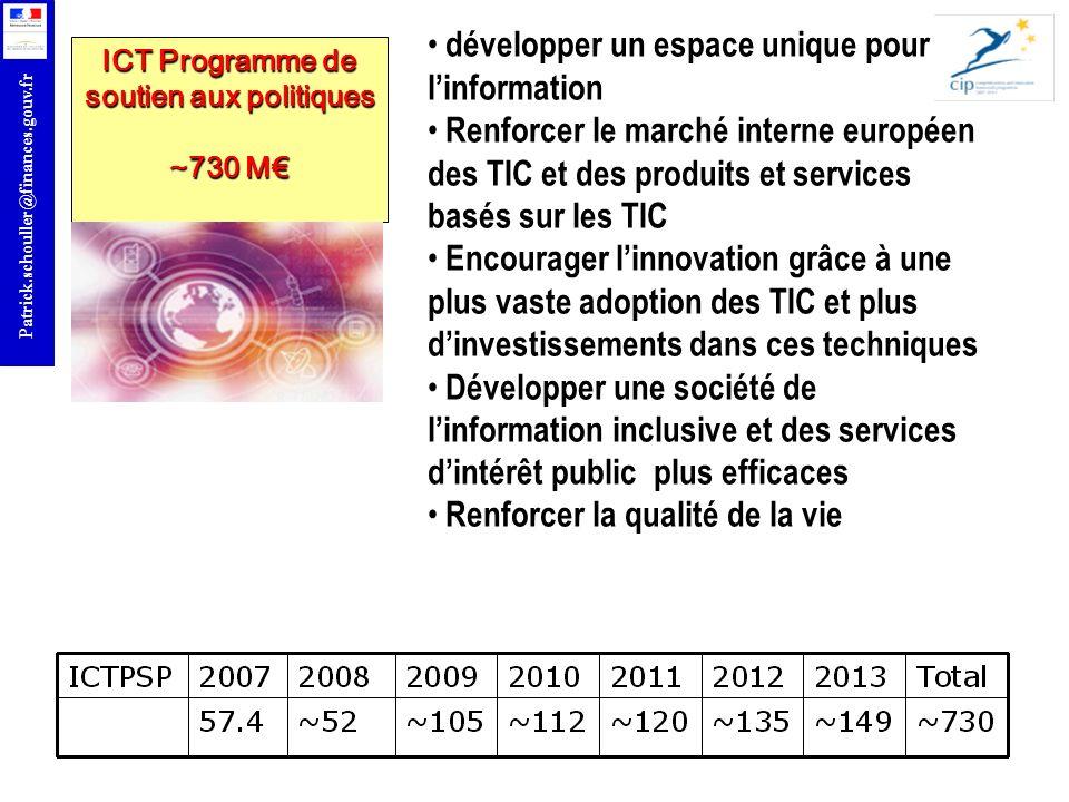 r Patrick.schouller@finances.gouv.fr ICT Programme de soutien aux politiques ~730 M développer un espace unique pour linformation Renforcer le marché