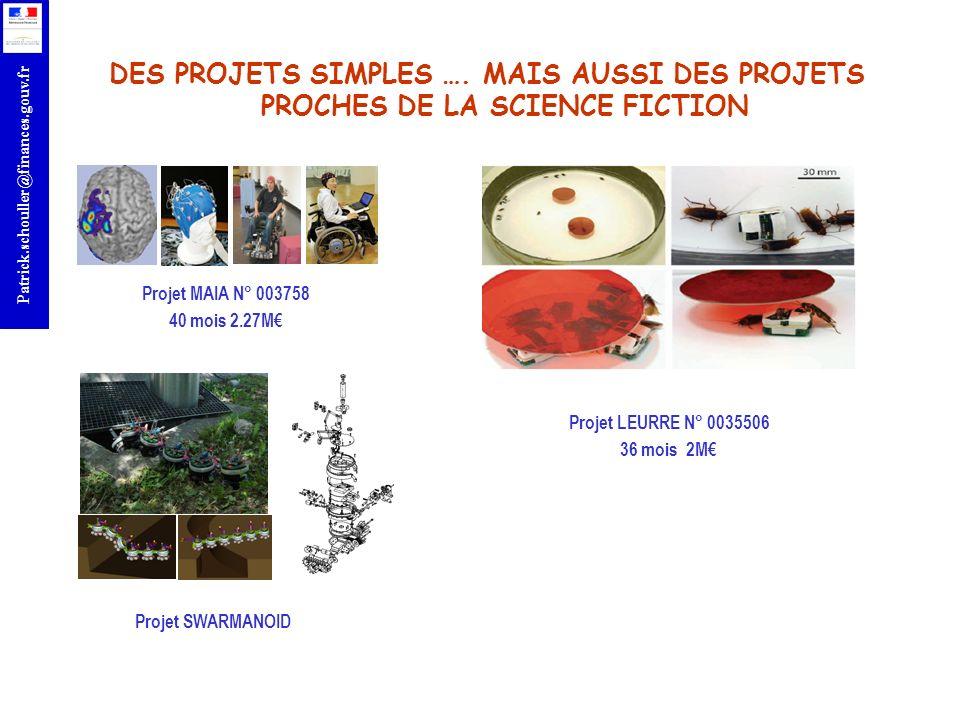 r Patrick.schouller@finances.gouv.fr OBJECTIF 1.1 Instruments de financements: –a), b), c), d): IP, STREP –e): NoE, CSA Distribution indicative du budget : –IP/STREP: 152 M, 50% pour les IP et 30% aux STREP –NoE: 6 M; CSA: 2 M Appel : FP7-ICT-2011-8