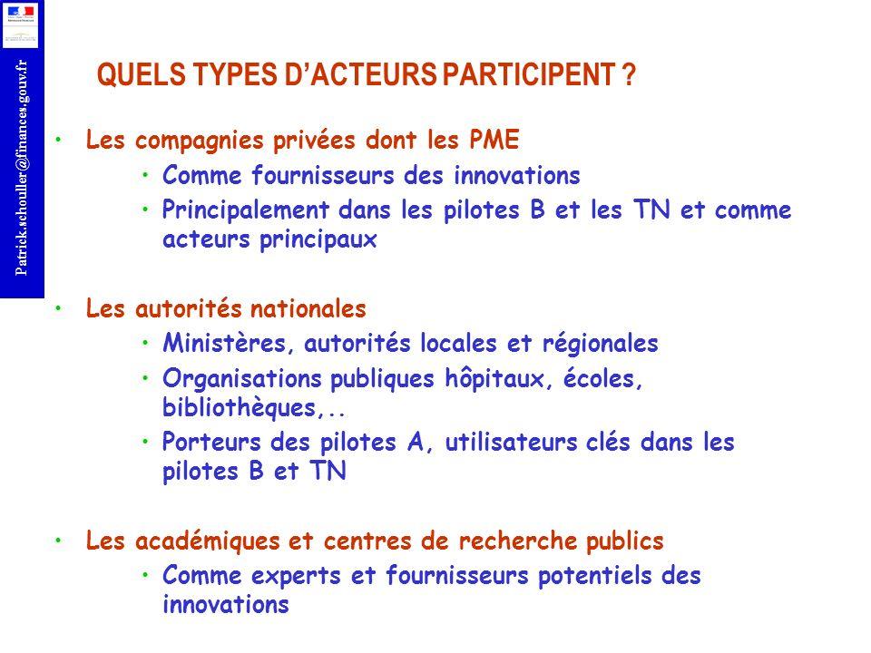 r Patrick.schouller@finances.gouv.fr QUELS TYPES DACTEURS PARTICIPENT ? Les compagnies privées dont les PME Comme fournisseurs des innovations Princip