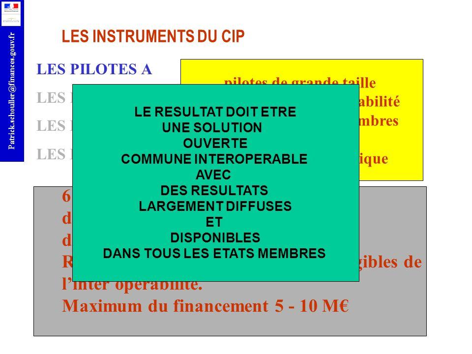 r Patrick.schouller@finances.gouv.fr LES INSTRUMENTS DU CIP LES PILOTES A LES PILOTES B LES RESEAUX THEMATIQUES LES RESEAUX DE MEILLEURES PRATIQUES 6