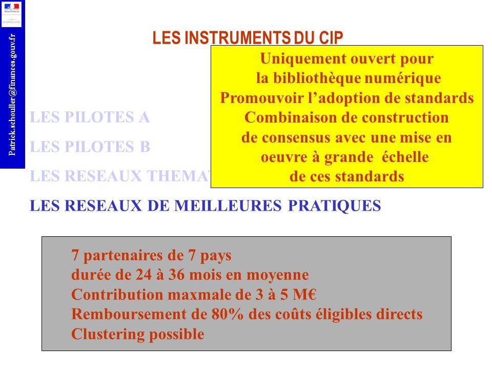 r Patrick.schouller@finances.gouv.fr LES INSTRUMENTS DU CIP LES PILOTES A LES PILOTES B LES RESEAUX THEMATIQUES LES RESEAUX DE MEILLEURES PRATIQUES 7