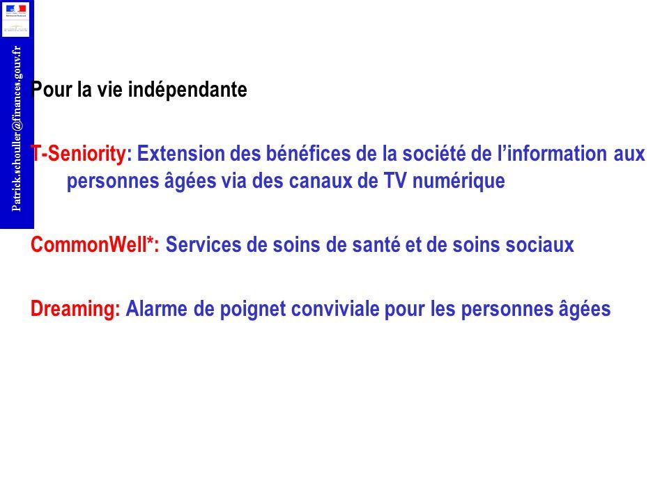 r Patrick.schouller@finances.gouv.fr Pour la vie indépendante T-Seniority: Extension des bénéfices de la société de linformation aux personnes âgées v