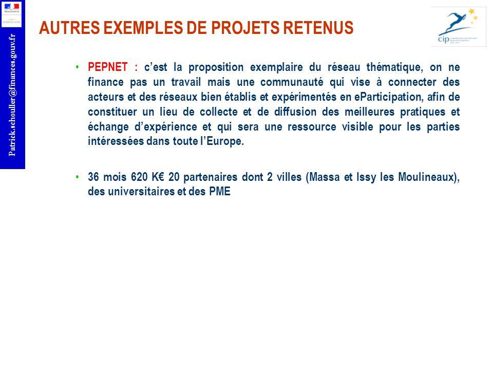 r Patrick.schouller@finances.gouv.fr AUTRES EXEMPLES DE PROJETS RETENUS PEPNET : cest la proposition exemplaire du réseau thématique, on ne finance pa