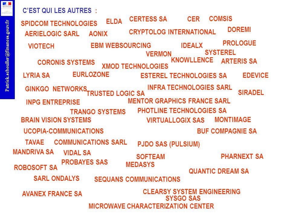 r Patrick.schouller@finances.gouv.fr LES OPPORTUNITES EN TIC ANR francophonie PCRDT Thématique TIC EUROSTARS ENIAC ARTEMIS AAL CATRENE FUI PÔLES FCE INVESTISSEMENTS DAVENIR PREDIT CIP TIC PSP RECHERCHE PME SAFER INTERNET + ISA FEDER COST ERC ITEA 2 CELTIC EURIPIDES EUROGIA + PRO FACTORY AQUEAU