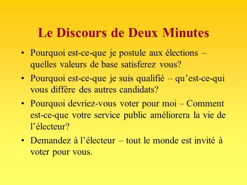 Le Discours de Deux Minutes Pourquoi est-ce-que je postule aux élections – quelles valeurs de base satisferez vous.