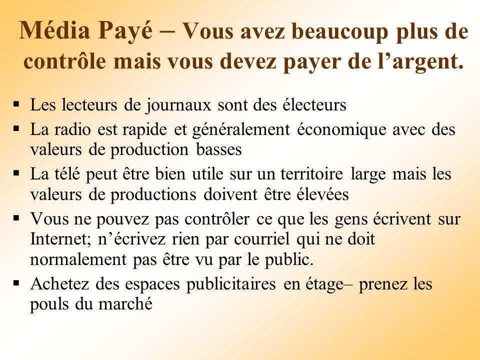 Média Payé – Vous avez beaucoup plus de contrôle mais vous devez payer de largent.