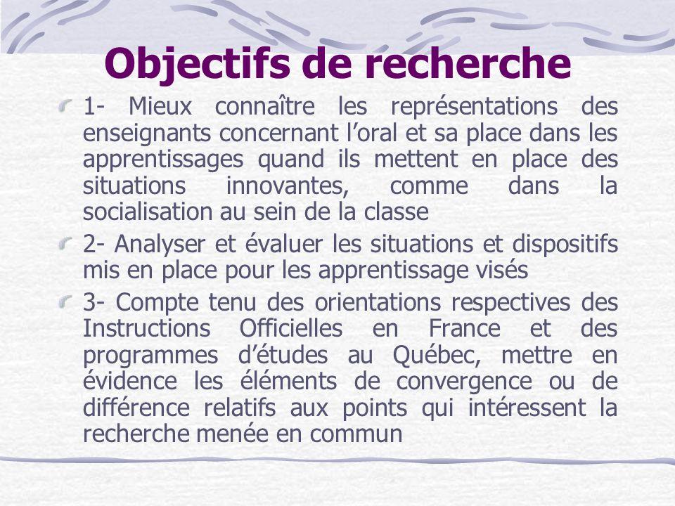 Objectifs de recherche 1- Mieux connaître les représentations des enseignants concernant loral et sa place dans les apprentissages quand ils mettent e