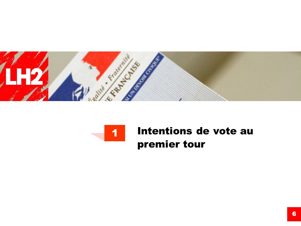 Intentions de vote au premier tour 1 6