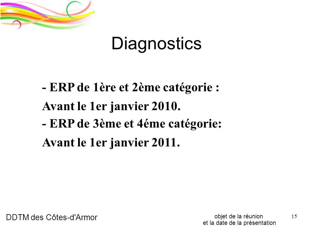 DDTM des Côtes-d'Armor objet de la réunion et la date de la présentation 15 Diagnostics - ERP de 1ère et 2ème catégorie : Avant le 1er janvier 2010. -