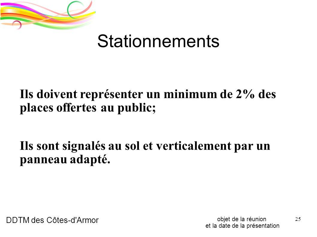 DDTM des Côtes-d'Armor objet de la réunion et la date de la présentation 25 Stationnements Ils doivent représenter un minimum de 2% des places offerte