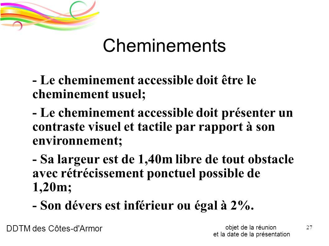 DDTM des Côtes-d'Armor objet de la réunion et la date de la présentation 27 Cheminements - Le cheminement accessible doit être le cheminement usuel; -