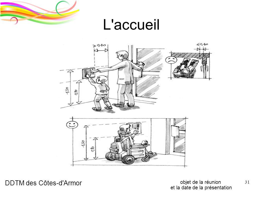 DDTM des Côtes-d'Armor objet de la réunion et la date de la présentation 31 L'accueil