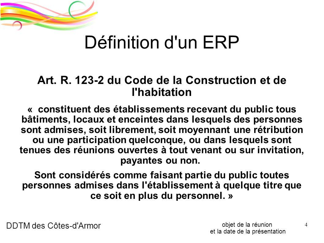DDTM des Côtes-d'Armor objet de la réunion et la date de la présentation 4 Définition d'un ERP Art. R. 123-2 du Code de la Construction et de l'habita