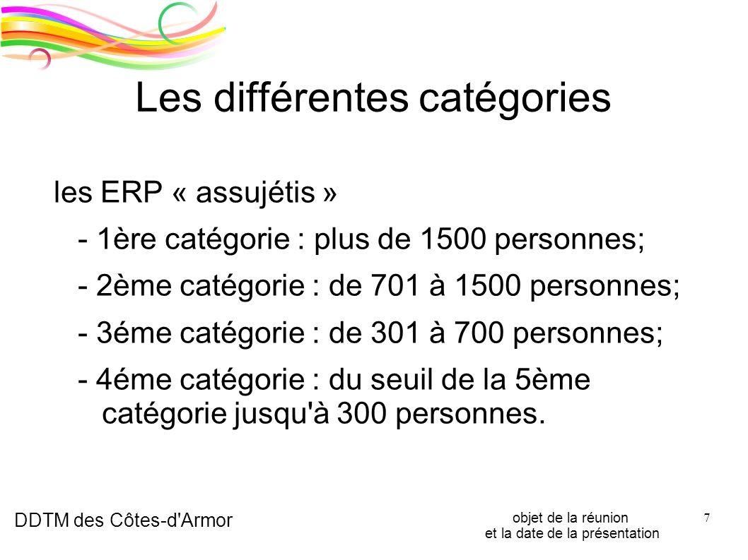 DDTM des Côtes-d'Armor objet de la réunion et la date de la présentation 7 Les différentes catégories les ERP « assujétis » - 1ère catégorie : plus de