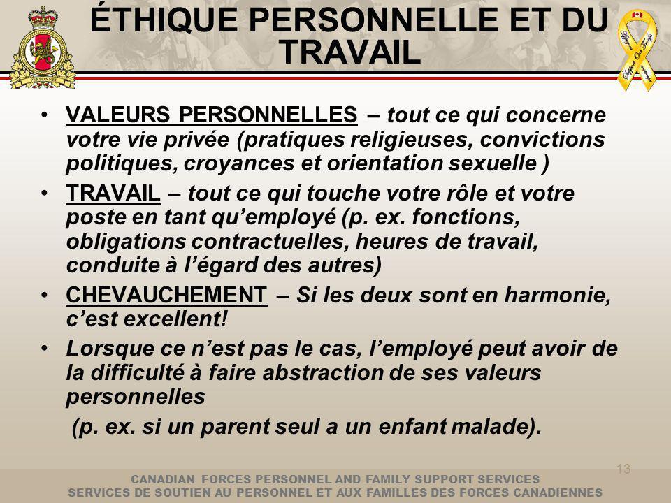 CANADIAN FORCES PERSONNEL AND FAMILY SUPPORT SERVICES SERVICES DE SOUTIEN AU PERSONNEL ET AUX FAMILLES DES FORCES CANADIENNES 13 ÉTHIQUE PERSONNELLE ET DU TRAVAIL VALEURS PERSONNELLES – tout ce qui concerne votre vie privée (pratiques religieuses, convictions politiques, croyances et orientation sexuelle ) TRAVAIL – tout ce qui touche votre rôle et votre poste en tant quemployé (p.