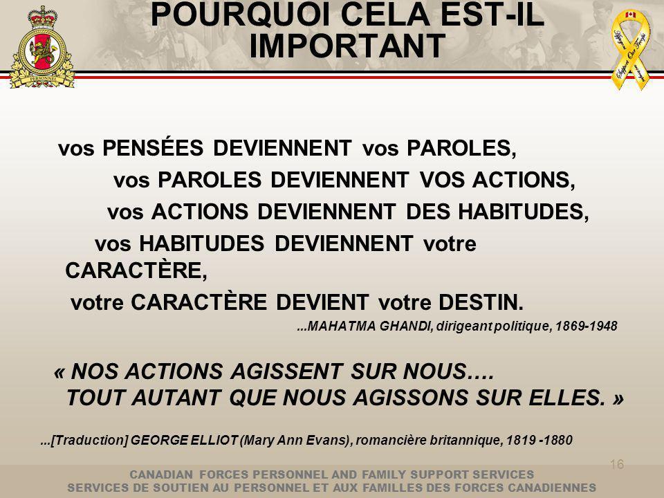 CANADIAN FORCES PERSONNEL AND FAMILY SUPPORT SERVICES SERVICES DE SOUTIEN AU PERSONNEL ET AUX FAMILLES DES FORCES CANADIENNES 16 POURQUOI CELA EST-IL IMPORTANT vos PENSÉES DEVIENNENT vos PAROLES, vos PAROLES DEVIENNENT VOS ACTIONS, vos ACTIONS DEVIENNENT DES HABITUDES, vos HABITUDES DEVIENNENT votre CARACTÈRE, votre CARACTÈRE DEVIENT votre DESTIN....MAHATMA GHANDI, dirigeant politique, 1869-1948 « NOS ACTIONS AGISSENT SUR NOUS….