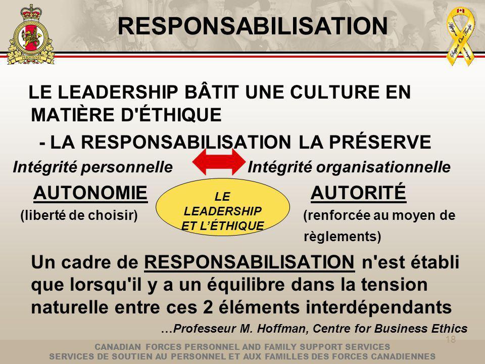 CANADIAN FORCES PERSONNEL AND FAMILY SUPPORT SERVICES SERVICES DE SOUTIEN AU PERSONNEL ET AUX FAMILLES DES FORCES CANADIENNES RESPONSABILISATION LE LEADERSHIP BÂTIT UNE CULTURE EN MATIÈRE D ÉTHIQUE - LA RESPONSABILISATION LA PRÉSERVE Intégrité personnelle Intégrité organisationnelle AUTONOMIE AUTORITÉ (liberté de choisir) (renforcée au moyen de règlements) Un cadre de RESPONSABILISATION n est établi que lorsqu il y a un équilibre dans la tension naturelle entre ces 2 éléments interdépendants …Professeur M.