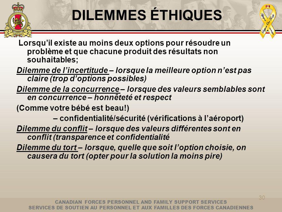 CANADIAN FORCES PERSONNEL AND FAMILY SUPPORT SERVICES SERVICES DE SOUTIEN AU PERSONNEL ET AUX FAMILLES DES FORCES CANADIENNES 30 DILEMMES ÉTHIQUES Lorsquil existe au moins deux options pour résoudre un problème et que chacune produit des résultats non souhaitables; Dilemme de lincertitude – lorsque la meilleure option nest pas claire (trop doptions possibles) Dilemme de la concurrence – lorsque des valeurs semblables sont en concurrence – honnêteté et respect (Comme votre bébé est beau!) – confidentialité/sécurité (vérifications à laéroport) Dilemme du conflit – lorsque des valeurs différentes sont en conflit (transparence et confidentialité Dilemme du tort – lorsque, quelle que soit loption choisie, on causera du tort (opter pour la solution la moins pire)