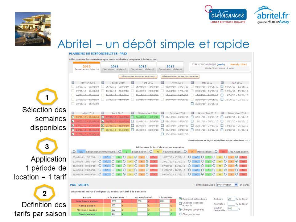 Abritel – un dépôt simple et rapide 123 Sélection des semaines disponibles Définition des tarifs par saison Application 1 période de location = 1 tari