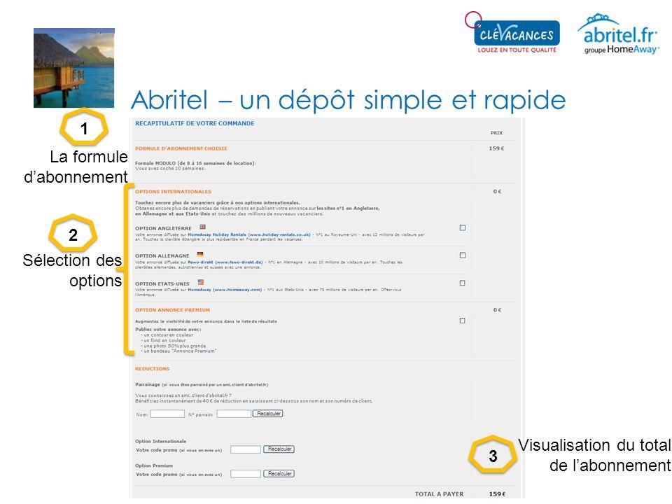 Abritel – un dépôt simple et rapide 123 La formule dabonnement Sélection des options Visualisation du total de labonnement