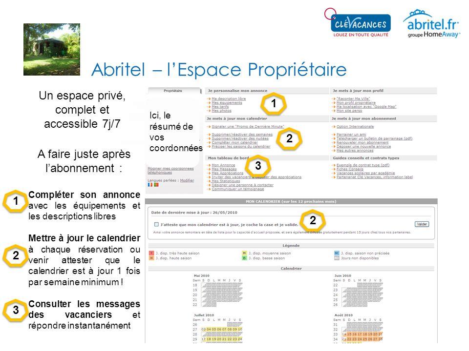 Abritel – lEspace Propriétaire Ici, le résumé de vos coordonnées Un espace privé, complet et accessible 7j/7 A faire juste après labonnement : Complét