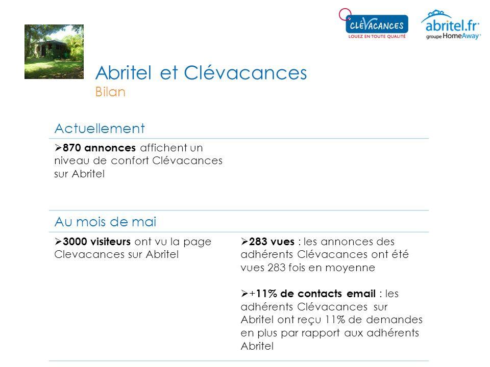 Abritel et Clévacances Bilan Actuellement 870 annonces affichent un niveau de confort Clévacances sur Abritel Au mois de mai 3000 visiteurs ont vu la