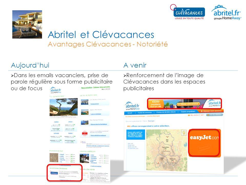 Abritel et Clévacances Avantages Clévacances - Notoriété AujourdhuiA venir Dans les emails vacanciers, prise de parole régulière sous forme publicitai