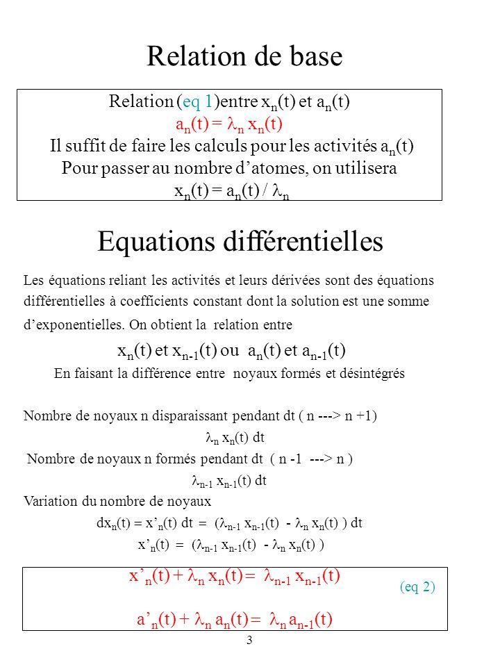 3 Relation de base Relation (eq 1)entre x n (t) et a n (t) a n (t) = n x n (t) Il suffit de faire les calculs pour les activités a n (t) Pour passer a
