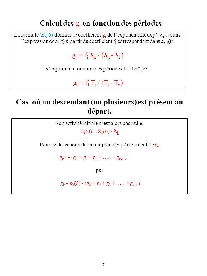 7 Calcul des g i en fonction des périodes La formule (Eq 6) donnant le coefficient g i de lexponentielle exp(- i t) dans lexpression de a n (t) à part