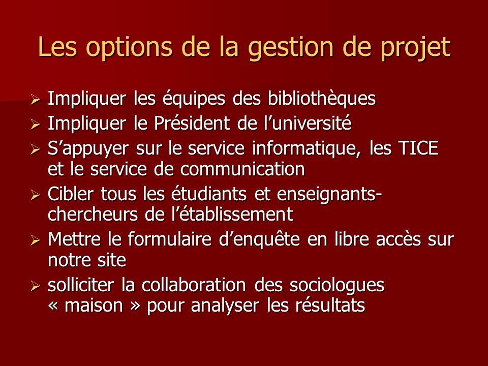 Les options de la gestion de projet Impliquer les équipes des bibliothèques Impliquer les équipes des bibliothèques Impliquer le Président de lunivers