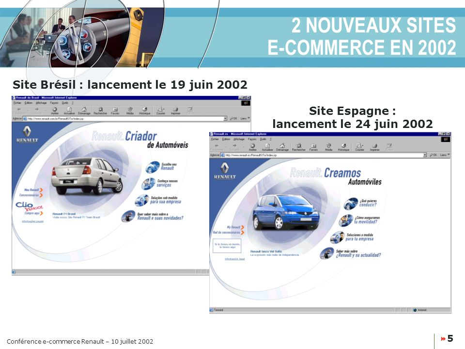 Conférence e-commerce Renault – 10 juillet 2002 5 2 NOUVEAUX SITES E-COMMERCE EN 2002 Site Brésil : lancement le 19 juin 2002 Site Espagne : lancement le 24 juin 2002