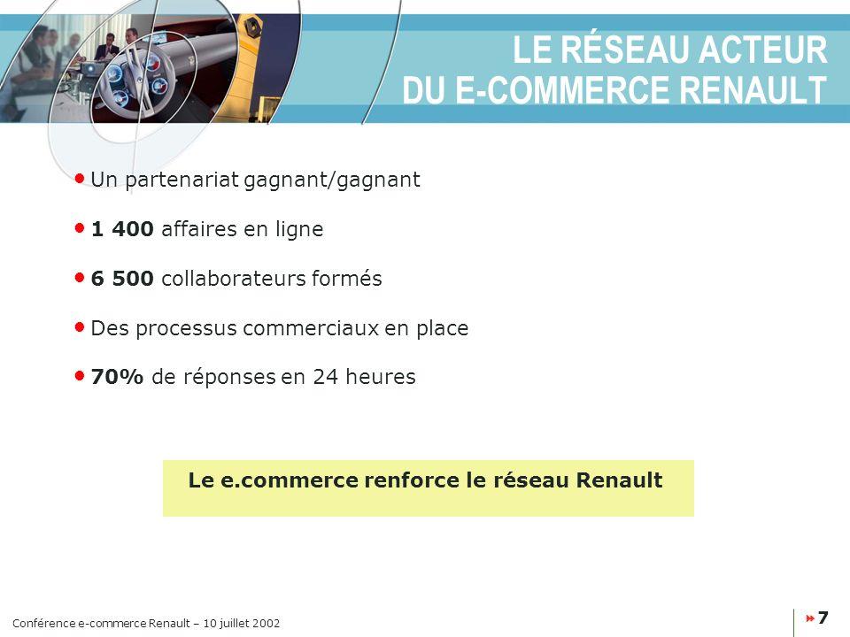Conférence e-commerce Renault – 10 juillet 2002 8 UN BILAN POSITIF APRÈS 15 MOIS DE DÉPLOIEMENT 1 er site constructeur en Europe depuis début 2002 (14 pays - Autometrics/Nielsen Netratings) 30 à 35 000 visiteurs uniques par jour sur les sites Allemagne, France, Royaume-Uni, Espagne, Brésil 250 à 500 leads par jour 70% de réponses en moins de 24 heures Une cible de clientèle prometteuse