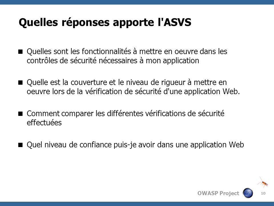 OWASP Project 10 Quelles réponses apporte l'ASVS Quelles sont les fonctionnalités à mettre en oeuvre dans les contrôles de sécurité nécessaires à mon
