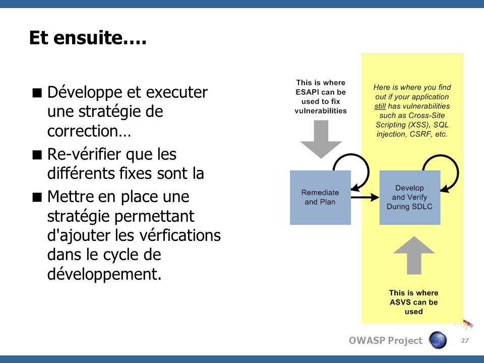 OWASP Project Et ensuite…. Développe et executer une stratégie de correction… Re-vérifier que les différents fixes sont la Mettre en place une stratég