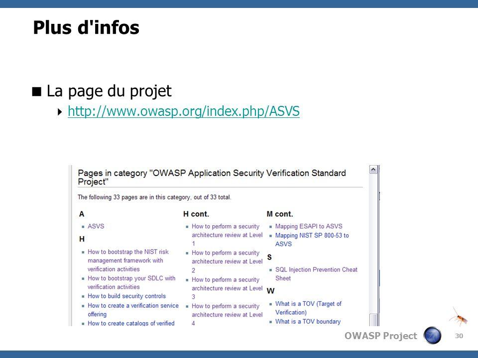 OWASP Project 30 Plus d'infos La page du projet http://www.owasp.org/index.php/ASVS