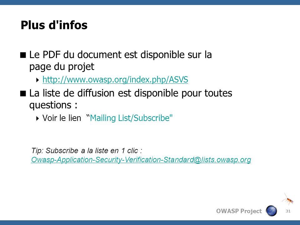 OWASP Project 31 Plus d'infos Le PDF du document est disponible sur la page du projet http://www.owasp.org/index.php/ASVS La liste de diffusion est di