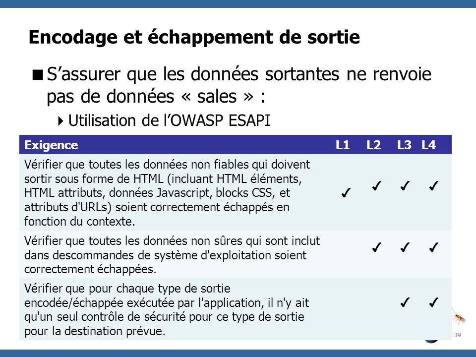 OWASP Project Encodage et échappement de sortie Sassurer que les données sortantes ne renvoie pas de données « sales » : Utilisation de lOWASP ESAPI 3