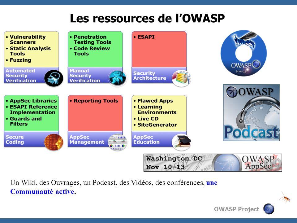 OWASP Project Les ressources de lOWASP Un Wiki, des Ouvrages, un Podcast, des Vidéos, des conférences, une Communauté active.