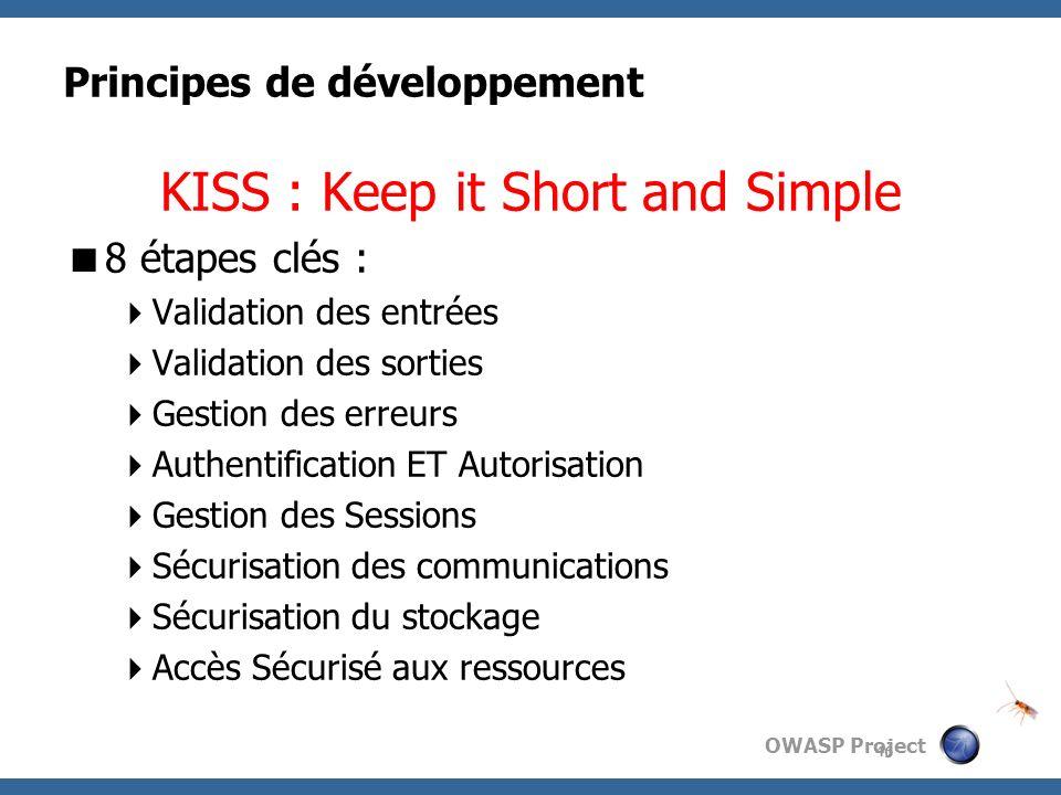 OWASP Project Principes de développement KISS : Keep it Short and Simple 8 étapes clés : Validation des entrées Validation des sorties Gestion des err