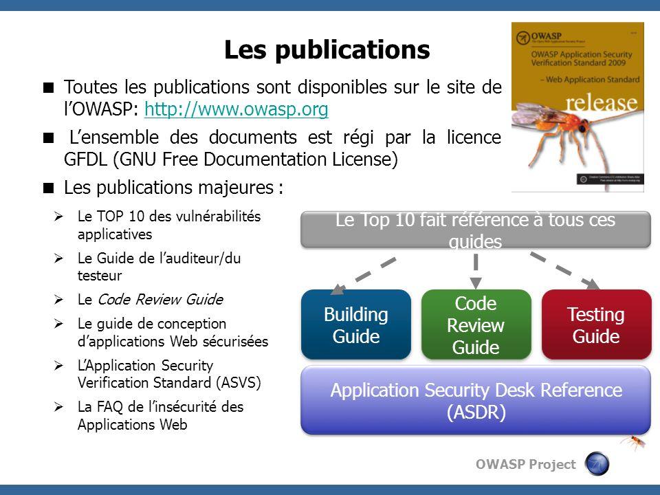 OWASP Project Les publications Toutes les publications sont disponibles sur le site de lOWASP: http://www.owasp.orghttp://www.owasp.org Lensemble des