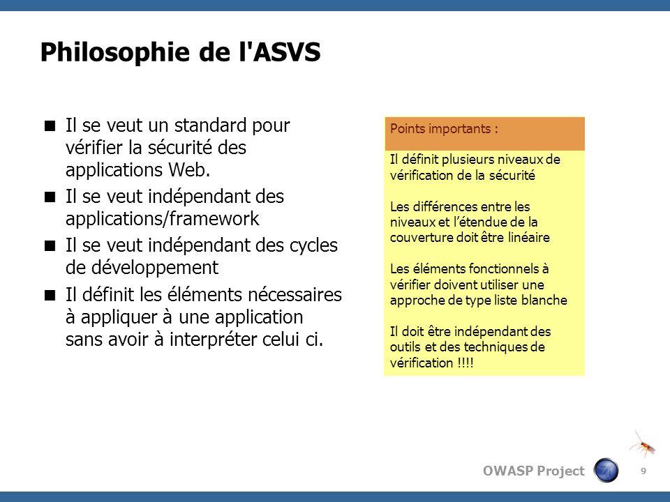 OWASP Project 9 Philosophie de l'ASVS Il se veut un standard pour vérifier la sécurité des applications Web. Il se veut indépendant des applications/f