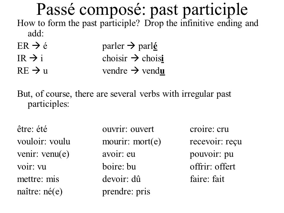 Passé composé: past participle How to form the past participle? Drop the infinitive ending and add: ER é parler parlé IR ichoisir choisi RE uvendre ve