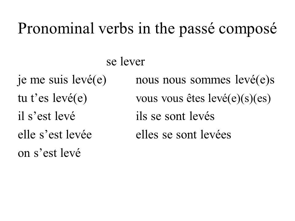 Pronominal verbs in the passé composé se lever je me suis levé(e)nous nous sommes levé(e)s tu tes levé(e) vous vous êtes levé(e)(s)(es) il sest levéil