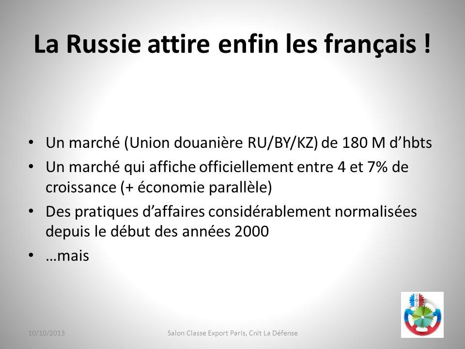 La Russie attire enfin les français ! Un marché (Union douanière RU/BY/KZ) de 180 M dhbts Un marché qui affiche officiellement entre 4 et 7% de croiss