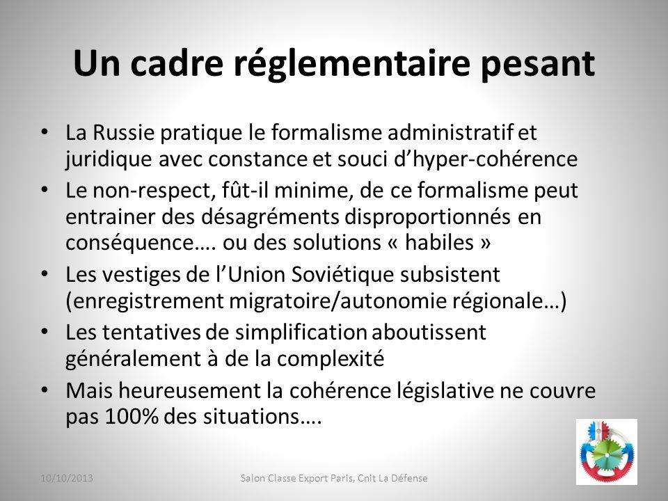 Un cadre réglementaire pesant La Russie pratique le formalisme administratif et juridique avec constance et souci dhyper-cohérence Le non-respect, fût