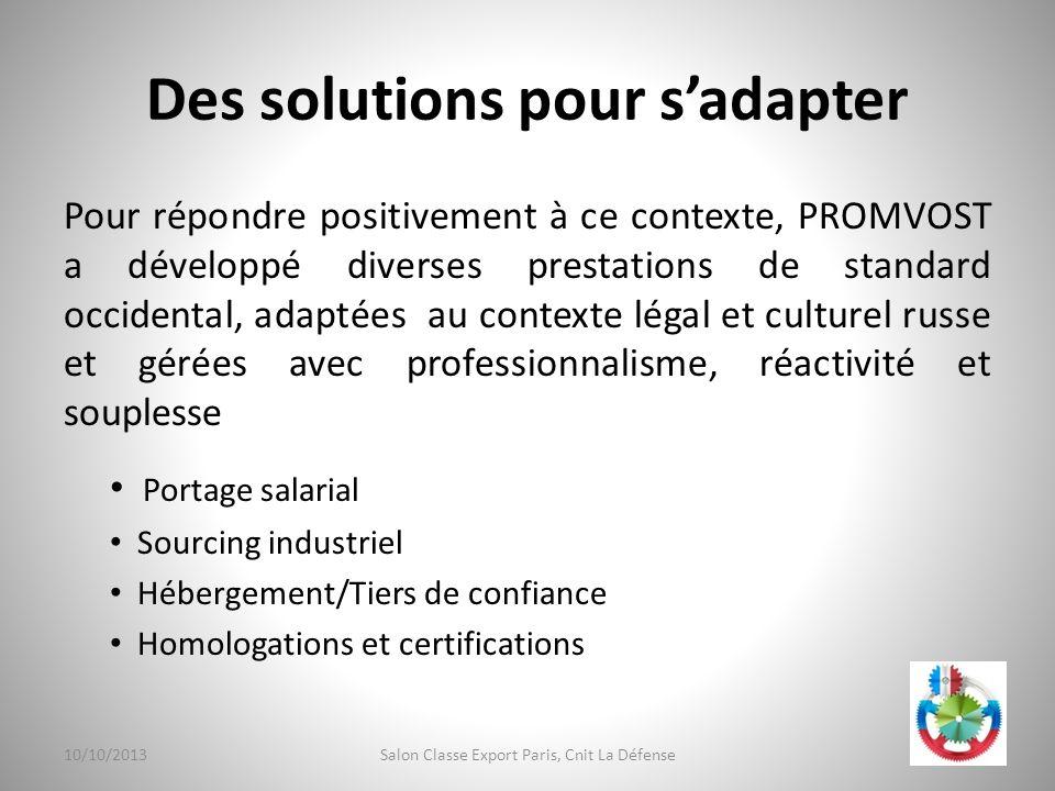 Des solutions pour sadapter Pour répondre positivement à ce contexte, PROMVOST a développé diverses prestations de standard occidental, adaptées au co