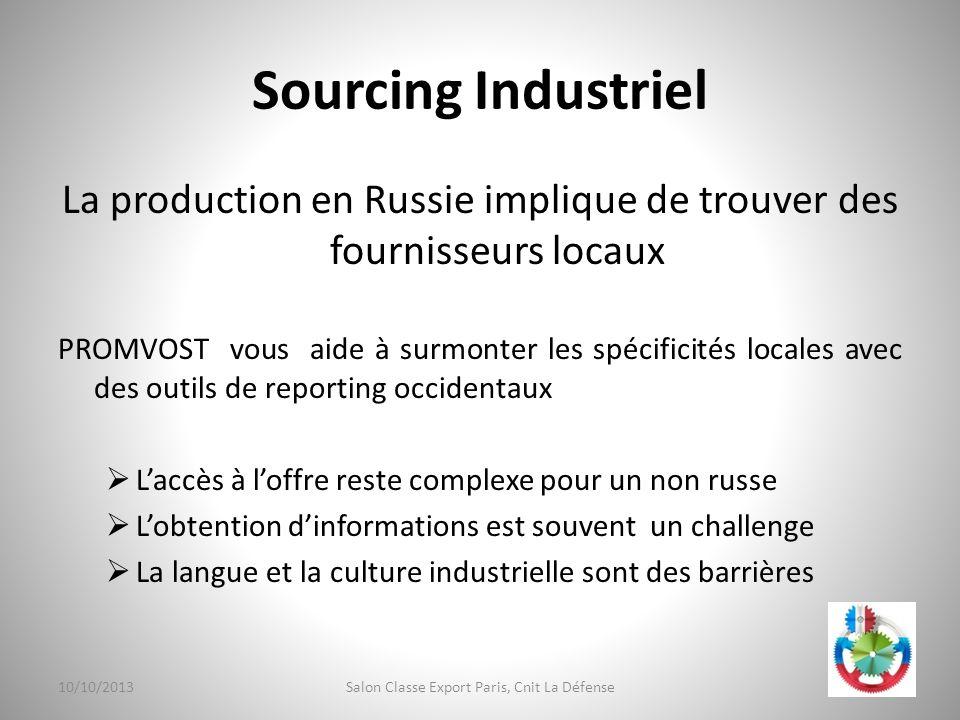 Sourcing Industriel La production en Russie implique de trouver des fournisseurs locaux PROMVOST vous aide à surmonter les spécificités locales avec d