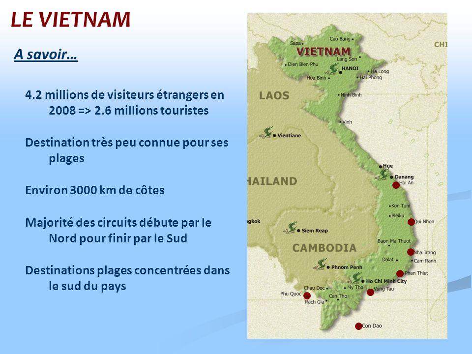 LE VIETNAM Environ 3000 km de côtes Destination très peu connue pour ses plages 4.2 millions de visiteurs étrangers en 2008 => 2.6 millions touristes