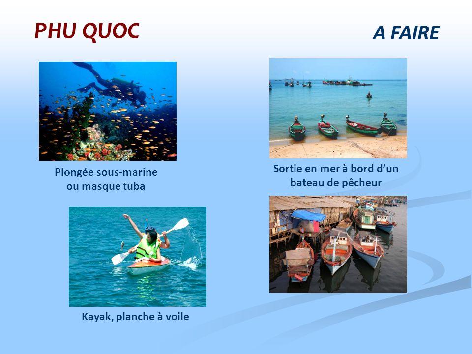 A FAIRE PHU QUOC Plongée sous-marine ou masque tuba Sortie en mer à bord dun bateau de pêcheur Kayak, planche à voile