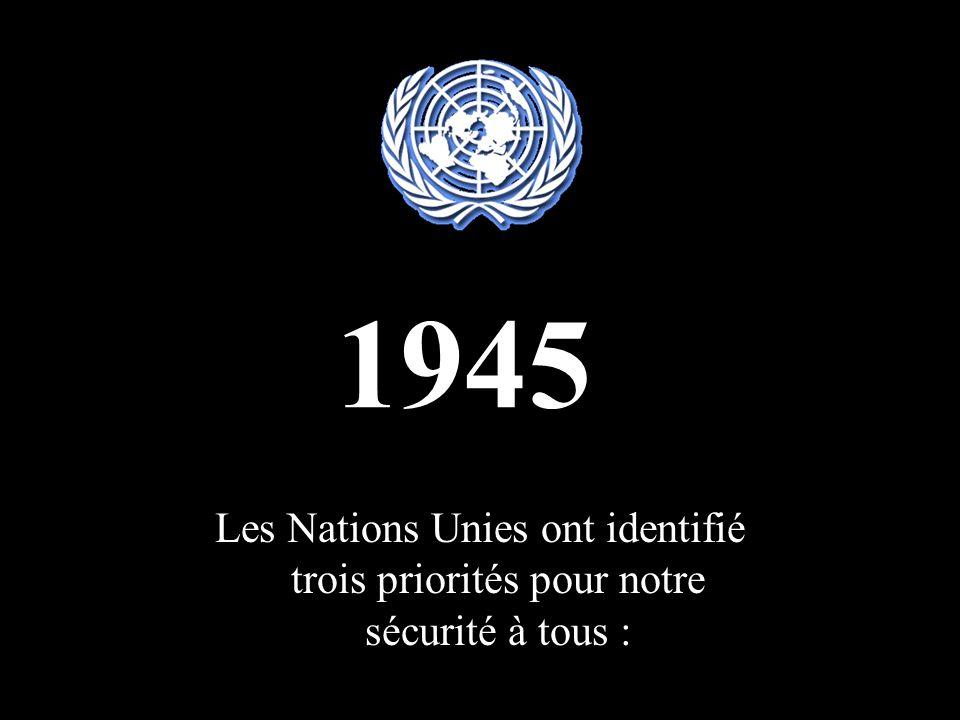 1945 Les Nations Unies ont identifié trois priorités pour notre sécurité à tous :